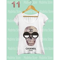 Tshirt Feminina Blusa Caveira Chanel Marca Moda 2016 Look