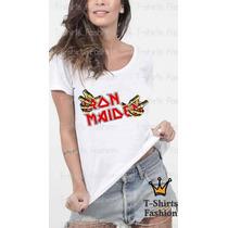 T-shirt Feminina Iron Maiden Rock Banda Personalizada