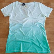 Camiseta Feminina Gola V Verde Degrade Hollister - Original