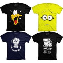 Camiseta Desenho Naruto Minions Dragon Ball Blech Bob Esponj