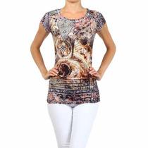 Blusa Importada Eua - Multi Estampa Com Pedras Ref. 4015