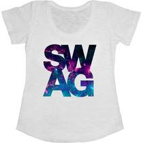 Baby Look Manga Curta Feminina T-shirt Swag Galaxy