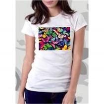 Camiseta Borboletas Coloridas - Tradicional/babylook