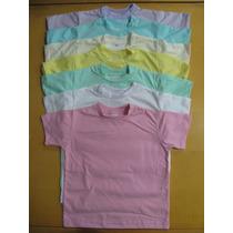 Kit Com 2 Camisetas Lisas Para Criança, Tamanhos 2, 4 E 6