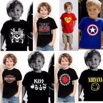 Camiseta Infantil Banda Super Herois Ac Dc Super Man Ramones