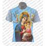 Camiseta Católica - Mãe Rainha - Mãe Maria - Menino Jesus