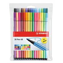 Kit 24+6 Neon Pen 68 Canetas Stabilo Cores Diferentes