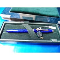 Caneta Tinteiro Azul Anil E Ouro Original Cross Raridade