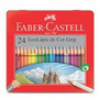 Lápis De Cor Grip Faber Castell 24 Cores Lata +brinde Grátis