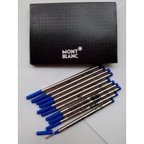 Kit Com 5 Cargas Rollerball Mont Blanc Azul Frete Grátis!