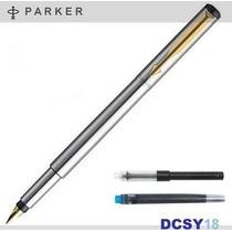Caneta Parker Vector Tinteiro Steel-gt Cartucho + Conversor