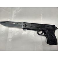 Canivete Formato De Arma Lamina Serrilhada Aço Inox Revolver