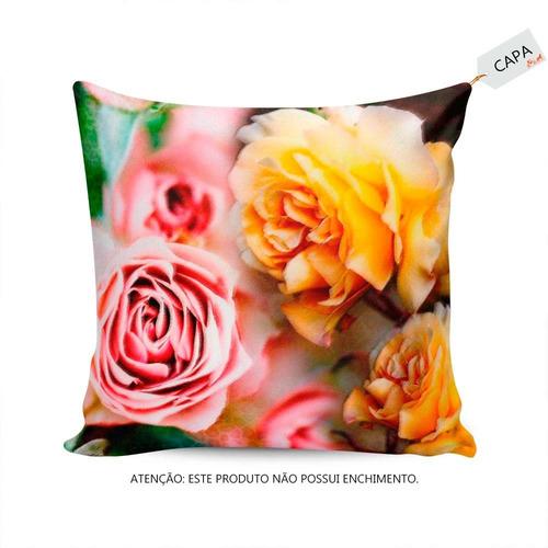 jardim rosas amarelas : jardim rosas amarelas:Capa Para Almofada Flores Amarelas E Rosas No Jardim Em – R$ 32,00 no