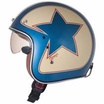 Capacete Zeus 380fa Aberto Vintage Star K56 Azul Vermelho
