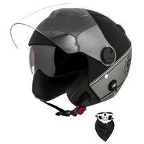 Capacete Pro Tork New Atomic Hd Skull Riders Prata + Brindes