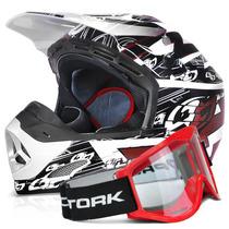 Capacete Cross + Oculos Vermelho 788 Th1 Eletric Pro Tork