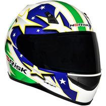 Capacete Norisk Ff391 Brasil Verde/azul 53/54 Rs1