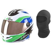 Capacete Pro Tork 4 Racing Vd Viseira Extra Cromada + Touca
