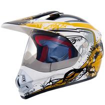 Capacete Trilha Rovcan 340 Branco/ Amarelo Motocross