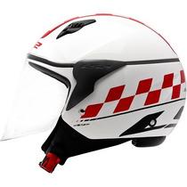 Capacete Ls2 Of559 Café Racer Branco/vermelho 53/54 Rs1