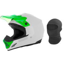 Capacete Motocross Th1 Solid Branco E Verde Tork + Brinde