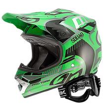 Capacete Moto Pro Tork Squad Verde Pt Óculos 788 Motocross