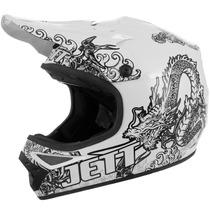 Capacete Motocross Jett Tattooed Branco Trilha + Frete