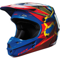 Capacete Fox V1 Radeon Azul Motocross, Motoqueiro, Moto
