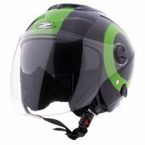 Capacete Zeus 202fb T40 Black Green Preto E Verde Aberto
