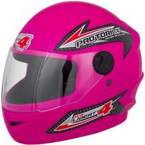 Capacete New Liberty Four 4 Pro Tork Moto Rosa + Brinde Top