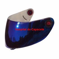 Viseira Shark S650 S700 S800 S900 Espelhada Azul Com Botão