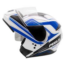 Capacete Moto Peels Urban Glory C/ Óculos Fumê Robocop Azul