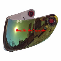 Viseira Shark S700 S800 S900 Espelhada Amarela Com Botão