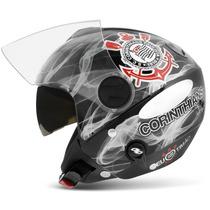 Capacete Corinthians Pro Tork Moto New Atomic Aberto Preto