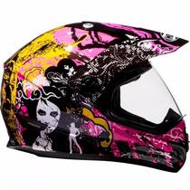Capacete Motocross Feminino Helt Cross Vision Pink Número 60