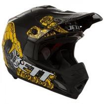 Capacete Motocross Jett Veneno Preto/amarelo
