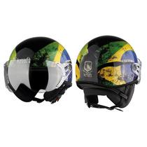 Capacete Kraft Bandeira Brasil Aberto Harley Scooter Drag