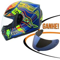 Capacete Agv K3 5/five Continents Vale Rossi Azul 61/62 Rs1