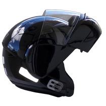 Capacete Moto Ebf E8 Articulado Robocop Preto Brilhoso