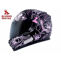 Capacete Mt Blade Butterfly New Preto Pink 58