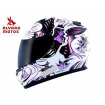Capacete Mt Blade Butterfly New Branco Pink 56 Rosa Feminino