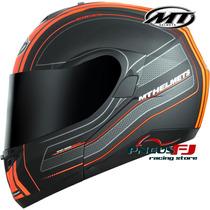 Capacete Mt Optimus Raceline Orange Articulado Brilho