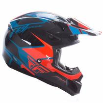 Capacete Cross Fly Racing Kinetic Azul/laranja Infantil