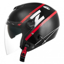 Capacete Zeus 202fb T54 Grid Metallic Black/red C/ Sun Visor