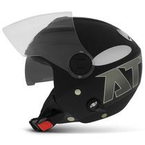 Capacete New Atomic Preto Fosco Aberto Pro Tork Viseira Moto