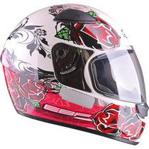 Capacete Ebf E0x Roses Branco É Na Dragon Racing