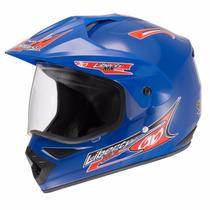 Capacete Motocross Liberty Mx Vision Azul 58 C/ Viseira