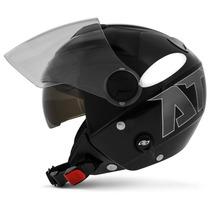 Capacete Moto New Atomic Preto Cinza Aberto Pro Tork Tam 58