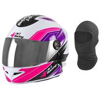 Capacete Pro Tork 4 Racing Feminino Rosa 2 Viseiras + Touca