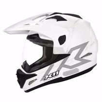 Capacete Moto X11 Crossover Branco Brilhante Cros C/ Viseira